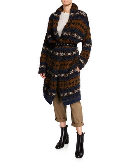 Brunello Cucinelli Cashmere Nordic Striped Long Cardigan