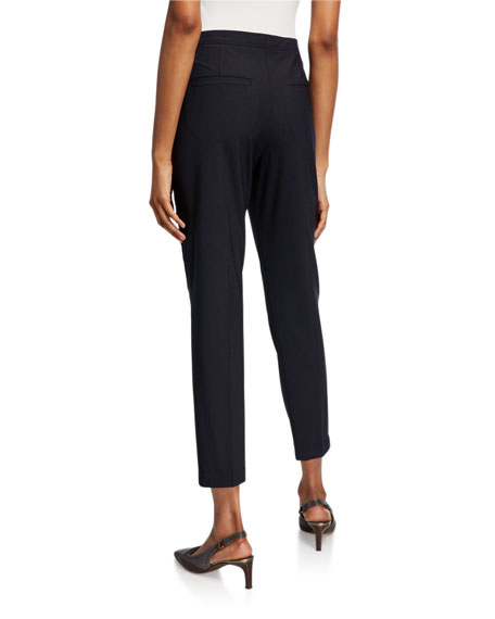 Brunello Cucinelli Monili-Beaded Tropical Wool Narrow-Leg Pants