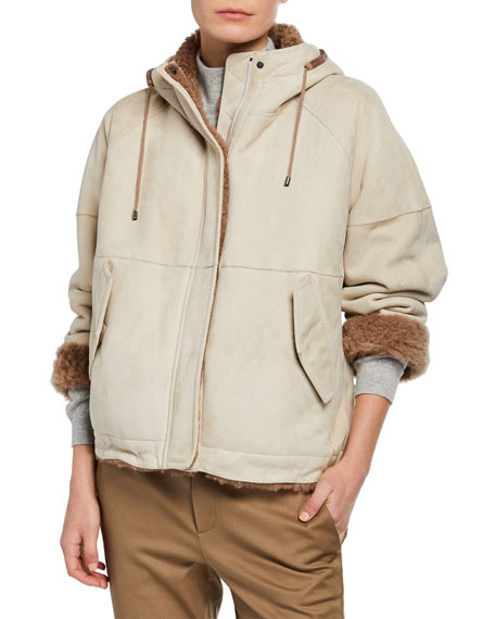 Brunello Cucinelli Shearling Lined Suede Zip-Front Jacket