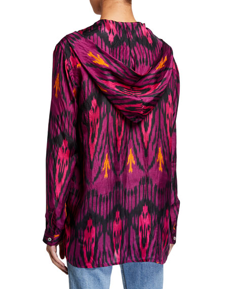 Image 2 of 2: Figue Ciara Ikat-Print Silk Hooded Tunic