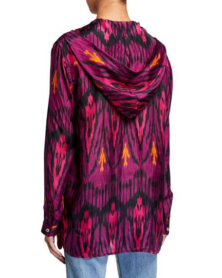 Figue Ciara Ikat-Print Silk Hooded Tunic