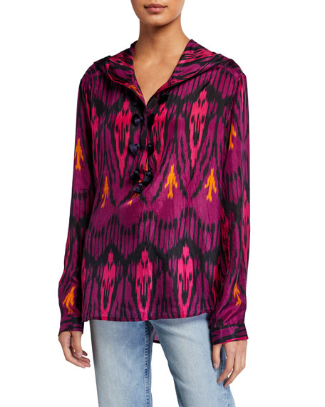 Image 1 of 2: Figue Ciara Ikat-Print Silk Hooded Tunic