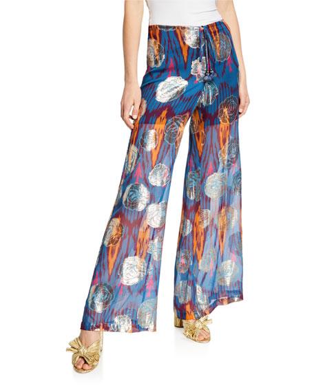 Figue Saanchi Ikat Metallic Flare-Leg Drawstring Silk Pants