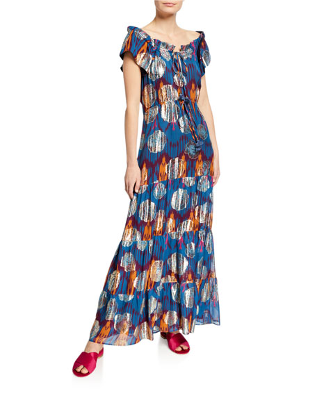 Figue Gianna Ikat Metallic Ruffle Cap-Sleeve Maxi Dress
