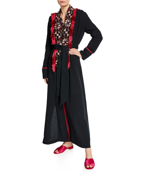 Image 2 of 3: Figue Olatz Wide Embroidered Fringe-Placket Robe