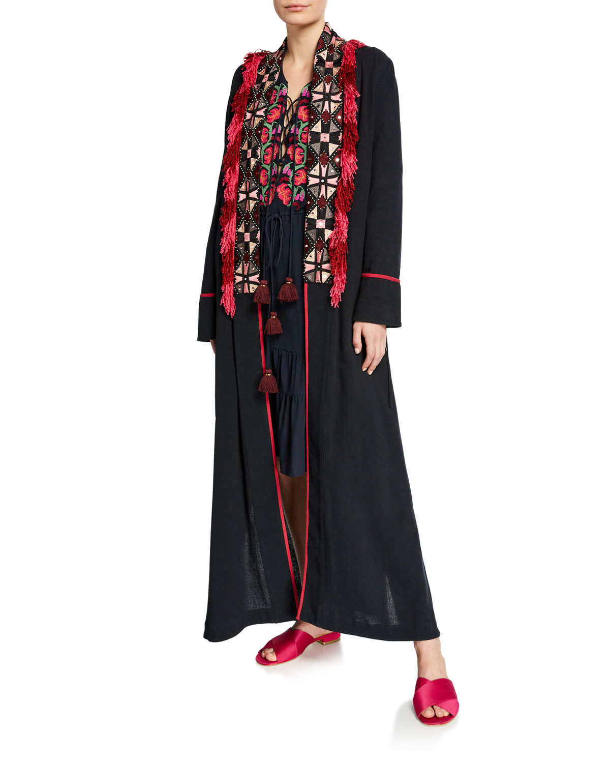 Figue Olatz Wide Embroidered Fringe-Placket Robe