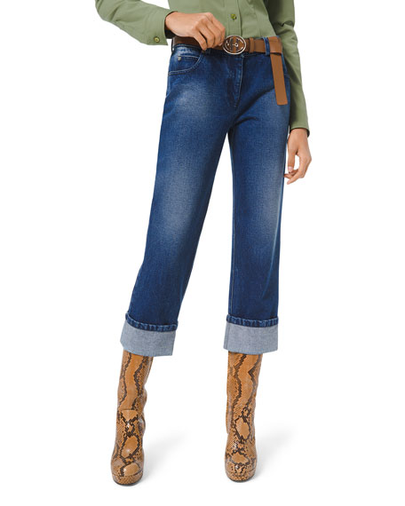 Michael Kors Collection Washed Denim Cuffed-Leg Jeans