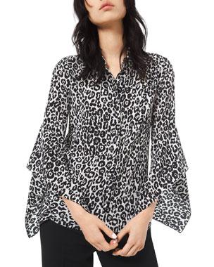 63b4b681d43461 Michael Kors Collection Cheetah-Print Crushed Bell-Sleeve Shirt