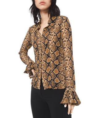 e34113e44d5601 Michael Kors Collection Python-Print Crushed Bell-Sleeve Shirt