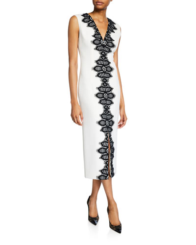 Corded Lace Detail Sheath Dress