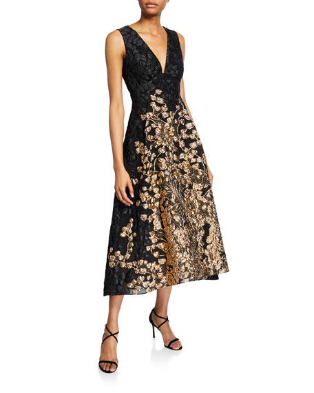 Lela Rose Vine Fil Coupe V-Neck Dress