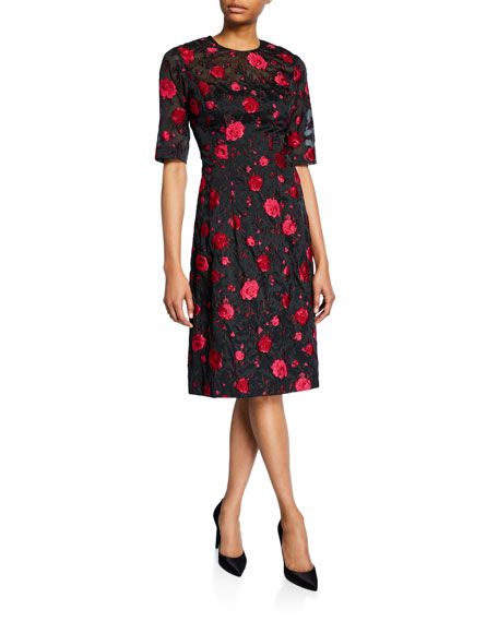 Image 1 of 2: Holly Rose Fil Coupe Elbow-Sleeve Dress