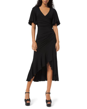 Michael Kors Collection Flutter-Sleeve Wrapped Jersey Dress
