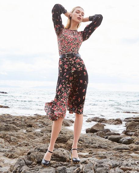 Michael Kors Collection Long-Sleeve Degrade Floral-Print Dress