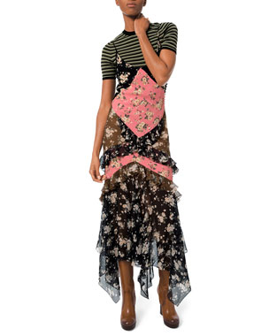 Michael Kors Collection Floral-Patchwork Chiffon Ruffled Maxi Dress