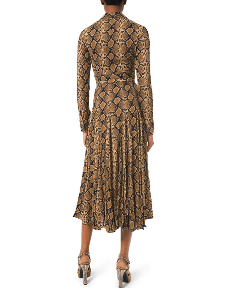 Michael Kors Collection Python-Print Crushed Georgette Dress