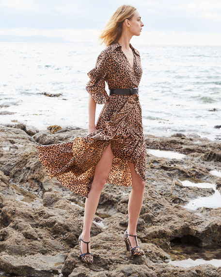 Michael Kors Collection Belted Leopard-Print Ruffle-Wrap Dress