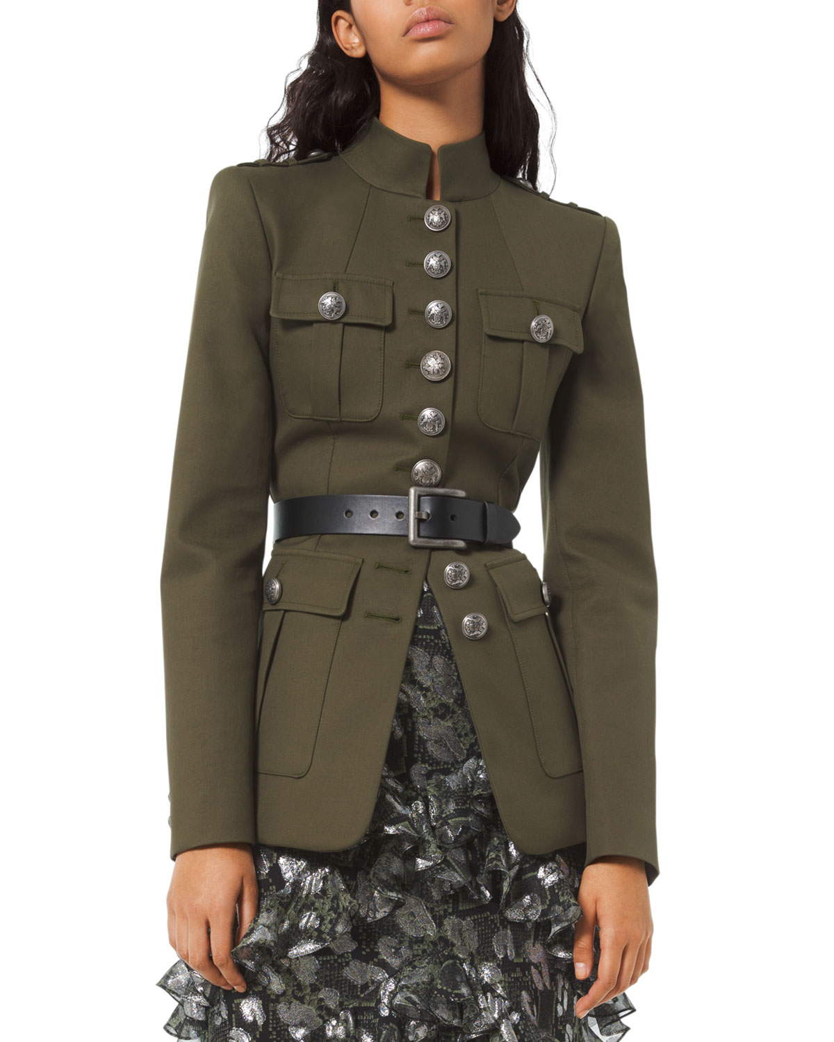 1912603ecde08 Michael Kors Collection Twill Military Jacket