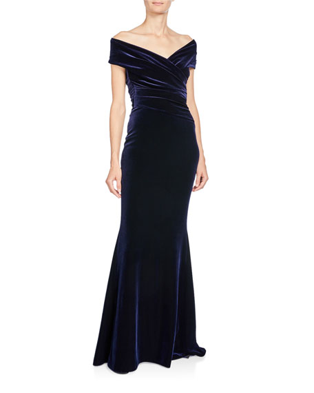 Talbot Runhof Stretch-Velvet Off-Shoulder Short-Sleeve Mermaid Gown