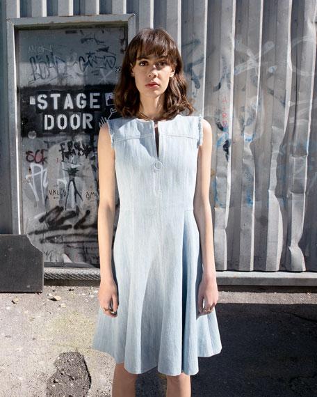 Akris punto Sleeveless Denim Ring-Zip Dress