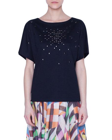 Akris punto Boat-Neck Pixel Stud Jersey T-Shirt