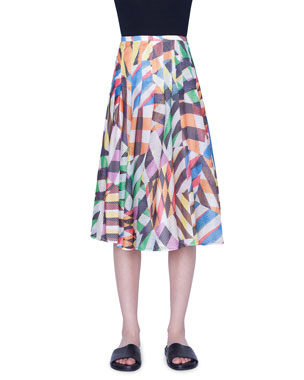 77bdd9b4e3 Akris punto Patchwork Mesh Flounce Skirt