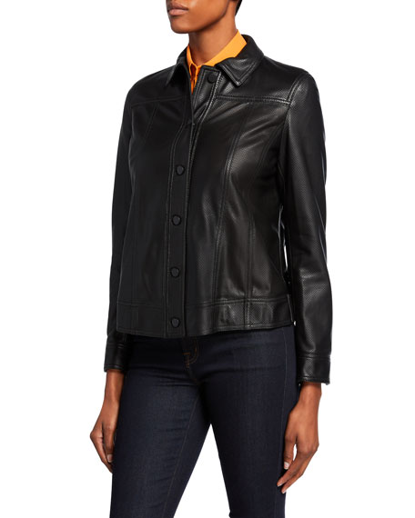 Akris punto Perforated Leather Jacket
