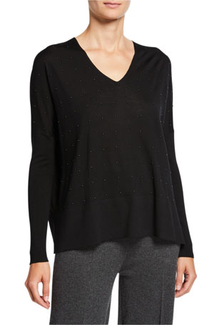 Akris punto Studded Wool V-Neck Sweater