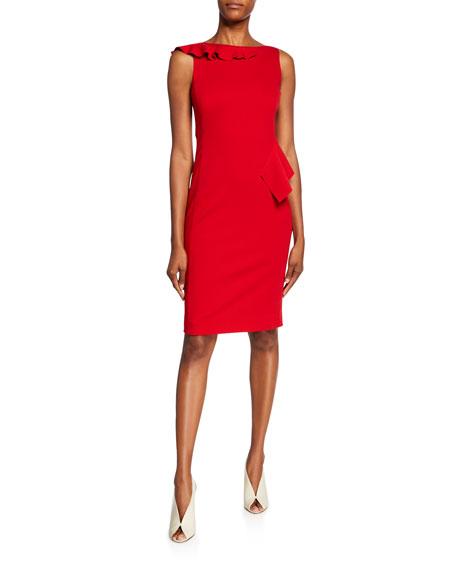 Akris punto Jersey Sleeveless Ruffle Dress