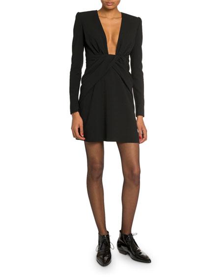 Saint Laurent Deep-V Wrapped Waist Mini Dress