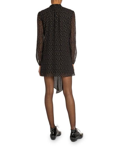 Saint Laurent Star-Print Chiffon Tie-Neck Mini Dress
