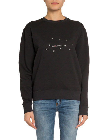Image 1 of 3: Saint Laurent Starred Logo Graphic Sweatshirt, Black/Silver