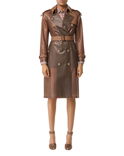 Colorblocked Faux-Leather Trench Coat
