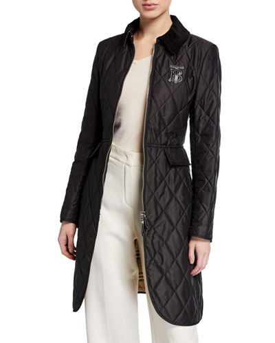 Equestrian Quilted Zip-Front Jacket  Black