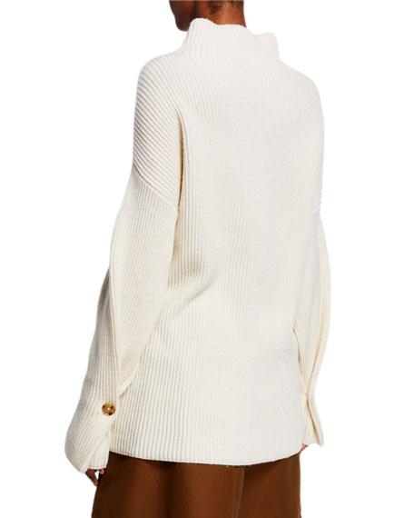 Co Ribbed Mock-Neck Turtleneck Sweater