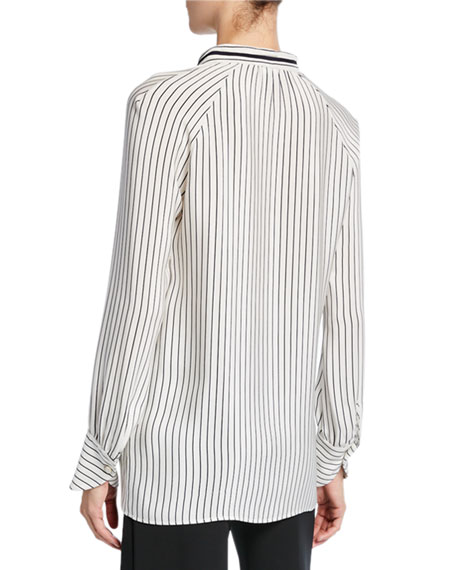 Derek Lam Sonia Striped Tie-Neck Blouse