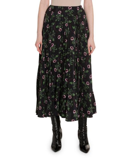 Valentino Rose & Lip-Print Pleated Crepe de Chine Skirt