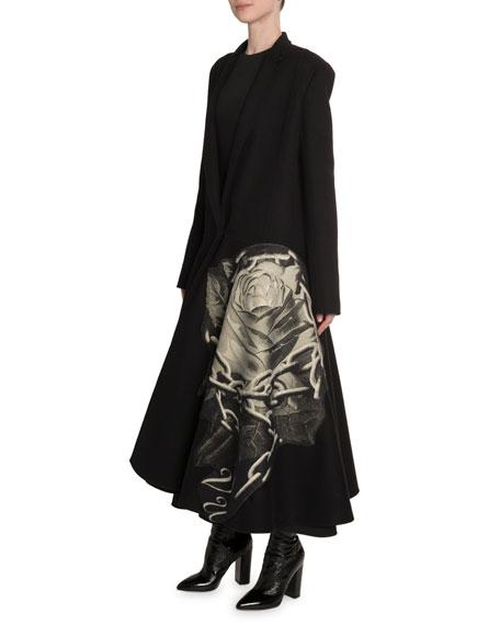 Valentino Rose & Chain Intarsia Compact Crepe Coat