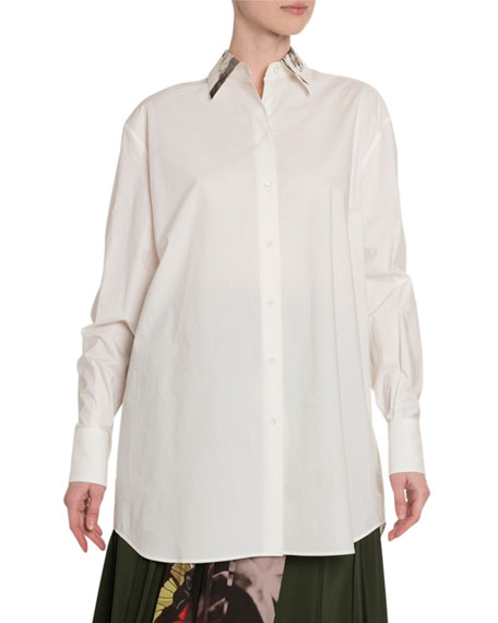 Valentino Rose Chain-Print Poplin Button-Front Shirt