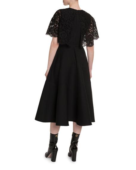 Valentino Heavy Lace Cape 1/2-Sleeve Dress