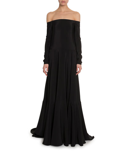 Off-the-Shoulder Cady Gown