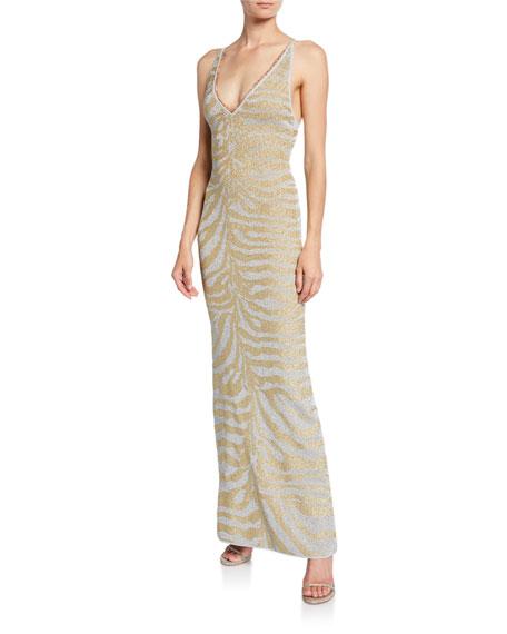 Herve Leger Zebra Deep-V Gown