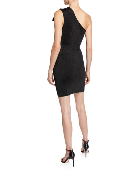 Image 2 of 2: Herve Leger Double-Face Metallic One-Shoulder Dress