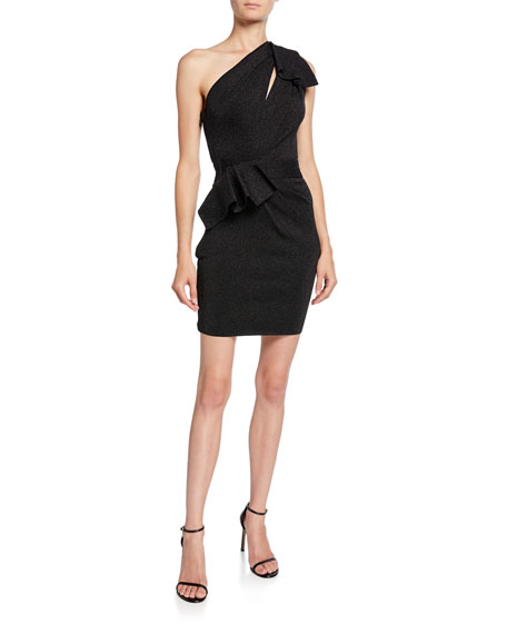Image 1 of 2: Herve Leger Double-Face Metallic One-Shoulder Dress