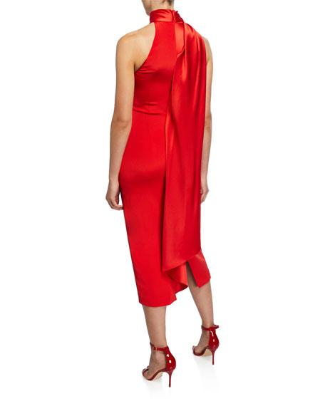 CUSHNIE Satin Scarf-Neck Midi Dress