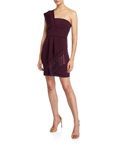 One-Shoulder Scarf-Neck Mini Dress