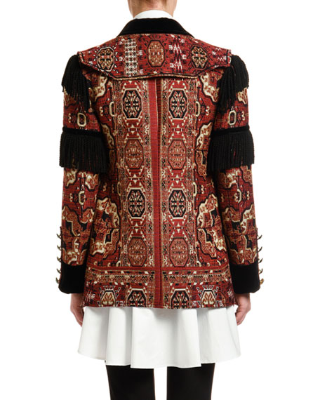 Etro Fringe-Sleeve Brocade Jacket