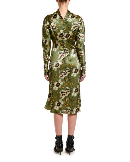 Etro Satin Mock-Neck Long-Sleeve Dress