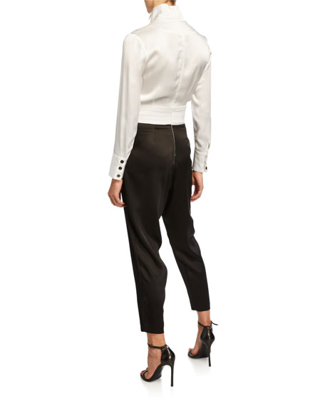 Carolina Ritzler Marissa Long-Sleeve Cummberbund Jumpsuit