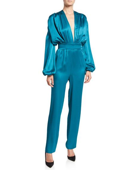 Carolina Ritzler Esmeralda Satin Full-Sleeve Jumpsuit